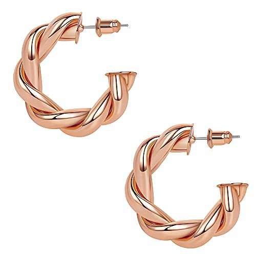 Reoxvo Chunky Twisted Gold Hoops Earrings for Womens Small(30mm/rose gold)