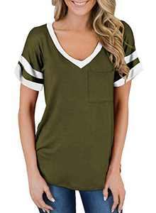 SAUKOLE Women's Summer Basic Tunic Tops Casual Color Block Striped Short Sleeve Workout T Shirts