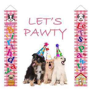 Crenics Let's Pawty Birthday Porch Sign Banner, Pink Plaid Dog Puppy Birthday Theme Front Door Banner, Puppy Hanging Decor for Home Outdoor Indoor Wall Decorations Supplies