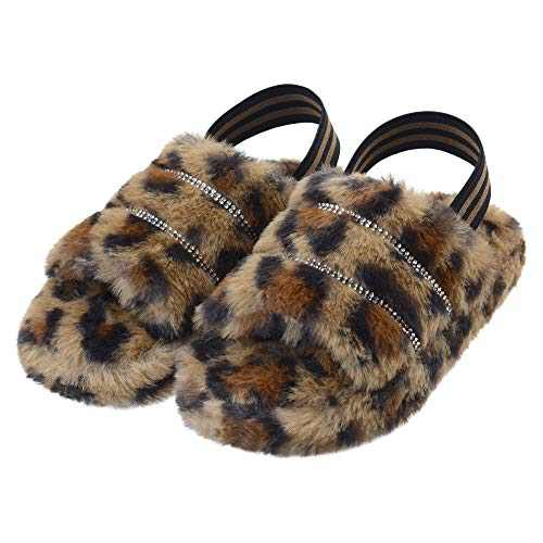 Kids Fuzzy Slide Slippers with Elastic Strap Toddler Fluffy Open Toe Home Slippers for Boys Girls Cozy Memory Foam Faux Fur Slip-on House Shoes Leopard 2 Big Kid