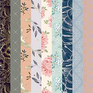 Desecraft 12x12 in All Foil Paper Pad Scrapbook Cardstock Decorative Paper for Floral Card Making Planner Origami Decopage Decorative Gift Wrapping 36 Sheets