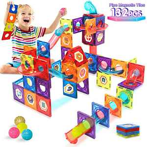 HOMOFY Magnetic Tiles 132PCS Pipe Magnetic Building Blocks for Kids 3D Educational Magnet Building Toy Set-Magnet Marble Run with 8 Colored Plastic Marbles STEM Toys for 3 4 5 6 Year Old Boys Girls