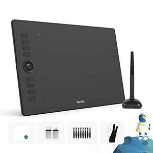 Parblo Graphics Drawing Tablet with Two-Finger Artist Glove and 8X Pen Tips 10x6 Inch Digital Drawing Tablet 8192 Pressure Level with Battery-Free Stylus and 8 Shortcut Keys (A610 Pro)