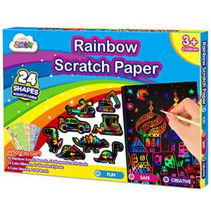 ZMLM Scratch Paper Art-Supply Boy: Magic Craft Rainbow Paper Drawing Kit Black Scratch Off Pad Sheet Toddler Preschool Toy for 3 4 5 6 7 8 9 10 Age Kid Holiday|Party Favor|Birthday|Children's Day Gift