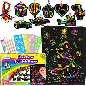 ZMLM Scratch Paper Craft kits: Rainbow Scratch Magic Color Drawing Pad Kid Preschool Bulk Art Stuff Supply for Age 3-12 Girl Boy Project Activity Toy Kindergarten|Educational|Party Favor|Birthday Gift