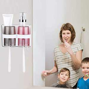 Aerroll Toothbrush Holder, Electric Toothbrush Holder Wall Mounted Set with 2 Cups and 2 Hooks for Bathroom, Large Capacity, no BPA Shower Toothbrush Holder for Kids, Family and Dormitory