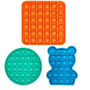 Push Bubble Fidget Sensory Toys Set,Autism Stress Reliever Special Needs Silicone Pop Squeeze Fidget Toys for Kids & Adult Home, School and Office(3Pack Mutil-Shape)
