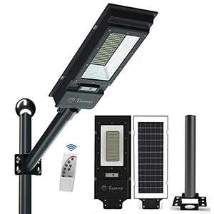 Solar Street Lights Outdoor-10000LM Solar Powered Street Lamp IP65 Waterproof Dusk to Dawn with Remote Control for Yard, Garage, Patio, Garden, Swimming Pool, Pathway, Basketball Court