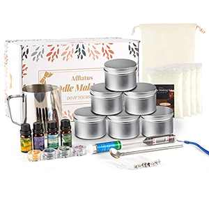 Soy Candle Making Kit Gift Pack for Adults and Kids, Full Candles Beginner Maker Supplies Set incl. Soy Wax, Jars,Wicks,Pouring Pot, Color Dye, Warning Stickers,wick Stickers,Fragrance Oil,Thermometer