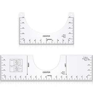 2 Pieces T-Shirt Ruler Guide Tool T-Shirt Alignment Tool T-Shirt Centering Tool T-Shirt Crew Neck Placement Graphic Guide Clear Shirt Guide Ruler for Apply HTV Vinyl Sublimation Design (Large, Small)