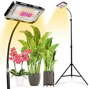 LeFreshinsoft LF150W LED Grow Light Full Spectrum 14-96 Inches 2x4 ft Coverage Cree LED Growing Lamp Gooseneck Tripod Fixture for Indoor Plants Hydroponic (150W, Actual Power 30W)