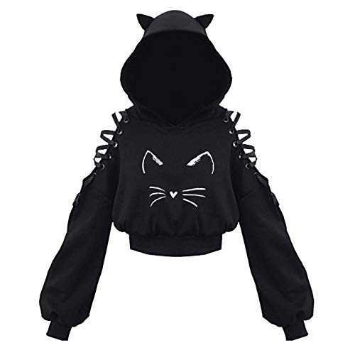 Women's Cat Ear Hoodie Pullover Long Sleeve Hooded Sweatshirt Crop Top Cute Blouse (Black 4, XXL)