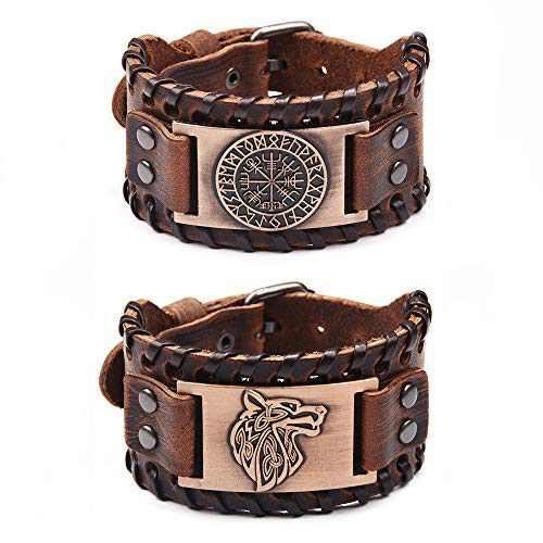TURTLEDOVE 2 Piece Viking Bracelets - Viking Wolf Fenrir - Norse Vegvisir Scandinavian Amulet