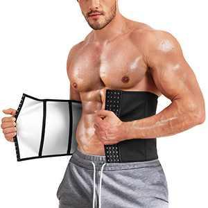 Kumayes Men Waist Trainer Trimmer for Weight Loss Sauna Sweat Belt Slimming Body Shaper Workout Corset Cincher (Black, Large)