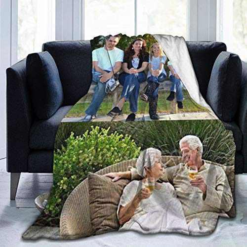 Customized Blanket Personalized Gifts Custom Throw Blankets with Photo Text for Couples Family Friends Fathers Mothers Teachers Thanksgiving Children Day Kids Birthday 2-50×40