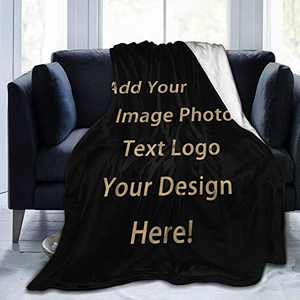 Customized Blanket Personalized Gifts Custom Throw Blankets with Photo Text for Couples Family Friends Fathers Mothers Teachers Thanksgiving Children Day Kids Birthday 1-80×60