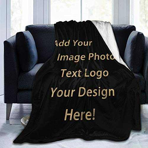 Anti-Pilling Flannel Customized Blanket Personalized Gifts Custom Throw Blankets with Photo Text for Couples Family Friends Fathers Mothers Day Kids Birthday 1-50×40