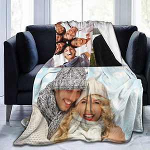 Customized Blanket Personalized Gifts Custom Throw Blankets with Photo Text for Couples Family Friends Fathers Mothers Day Kids Birthday 3-50×40