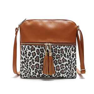 Nabegum Leopard Print Front Pocket Compartment Cheetah Animal Vegan Leather Crossbody Purse Bag (Leopard brown)