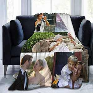 Customized Blanket Personalized Gifts Custom Throw Blankets with Photo Text for Couples Family Friends Fathers Mothers Day Kids Birthday 5-50×40