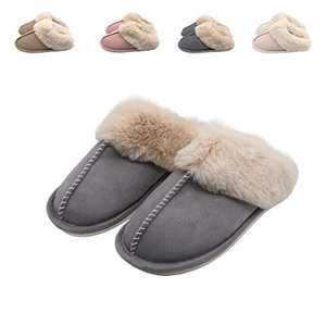 Womens Memory Foam Slippers Fuzzy Fluffy Furry Fur Slippers Cozy House Indoor & Outdoor Warm Bedroom Slippers