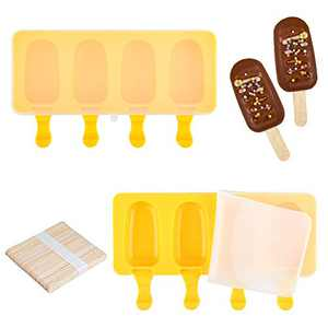 Fimary 2 Pack Small Popsicle Molds with 2 Lids, 50 Wooden Sticks for DIY Homemade Ice Pops, Bpa Free and Nonstick