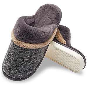 Memory Foam House Slippers for Women Comfy Faux Fur House Slipper Slip on Anti-Skid,Size 9 10 Dark Gray, for Women Mom