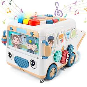 OWNONE 1 Baby Activity Cube Bus, Multifunctional Musical Activity Cube for Kids Bus Shape, Learning Music Toy for Baby Boys & Girls, Fun and Learning for Kids Toddlers Babies Age 18 Months+ 2 3 4 5