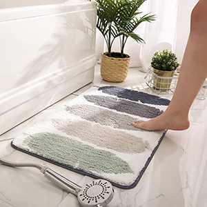 "Bathroom Mat Microfiber Rug Soft Bathroom Floor Mat for Entrance Non-Slip 20""x32"" Green Bath Rug Machine Washable Large,Leaves"