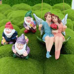 Fairy Garden, Garden Gnomes and Fairy Garden Accessories- Set of 4 Hand Painted Fairy Garden Accessories for Outdoor or Home Decor