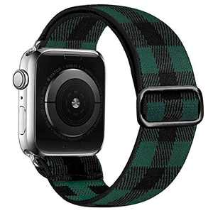 Panrock Stretchy Watch Band Compatible with Apple Watch 38mm 40mm 42mm 44mm, Sport Elastic Adjustable Wristband for Women Men iWatch Series 6/5/4 3/2/1/SE (Black green grid, 42mm/44mm)