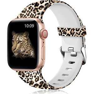 Easuny Leopard Bands Compatible with Apple Watch Band 40mm 38mm Women - Floral Soft Pattern Printed Cute Fadeless Silicone Replacement Wristband for iWatch Series 6 5 4 3 2 1 Girls,Leopard,S/M