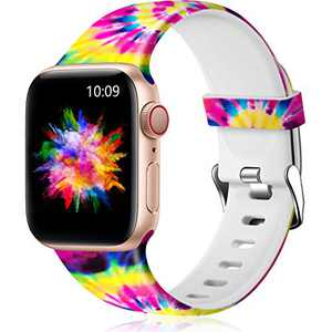 Easuny Floral Band Compatible with Apple Watch SE 44mm 42mm Women - Floral Soft Pattern Printed Cute Fadeless Silicone Replacement Wristband for iWatch Series 6 5 4 3 2 1 Girls,Painting,S/M