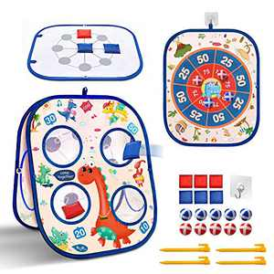 Bean Bag Toss Game Outdoor Toys for Kids Ages 4-8 3-5, Backyard Games Dart Board for Kids, Outside Toys for Toddlers 3 in 1 Collapsible Triple Sided Cornhole Board Games, Gift for Boys Girls Dinosaur