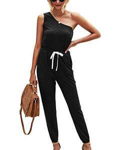 Minipeach Womens Jumpsuit, One Shoulder Jumpsuits Elastic Cuff Long Pants Romper with Pockets Black
