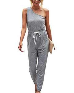 Minipeach Womens Jumpsuit, One Shoulder Jumpsuits Elastic Cuff Long Pants Romper with Pockets Grey