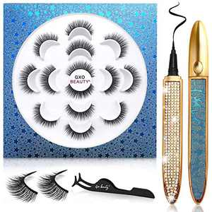 No Magnetic Eyelashes and Light Glue Eyeliner Kit, 3D Natural Look False Lashes with Magic Eye Liners Pen, Reusable Eyelash Set Without Magnets