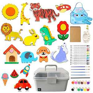 WEWLINE Wooden Craft Kits for Kids with Plastic Storage Box,97Pcs Creativity Arts&Crafts Paint Kits,Decorate Your Own for Gift/Parties/Family Crafts/DIY Supplies Painting Kits for Kids Ages 4-8