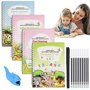 English Magic Practice Copybook for Kids, 4 Pieces Reusable Writing Practice Book Set, Magic Calligraphy Tracing Copybook, for Kid Learning Alphabet, Number, Mathematics, Drawing (Contains Pen)