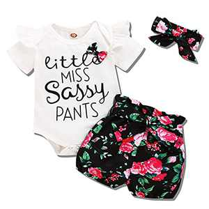 Baby Girl Clothes Newborn Outfits 3Pcs Infant Floral Short Sleeve Romper Shorts Set + Headband White