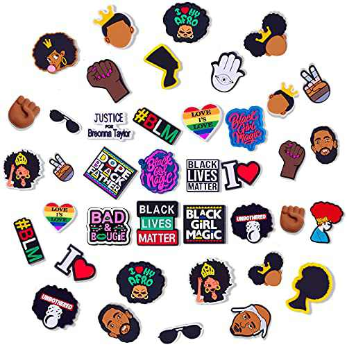 African American Shoe Charms - 30 Pcs Multi-Style Shoe Accessories Charms for Boy Girls Women PVC Different Cute Clog Shoe Charms for Shoes Decorations Party Gifts