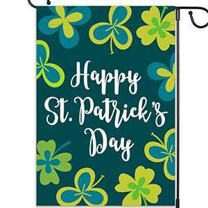 "St Patricks Day Flag, St Patricks Day Garden Flag, Garden Decor - Irish Shamrock Garden Flag, Outdoor Small Yard Flag, Decorative March Saints Garden Flag, Double Sided, 12.5""x18"""