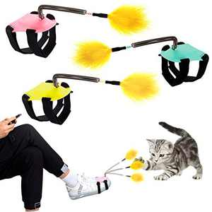 3 Pack Foot Tied Cat Feather Wands- Metal Wire Spring Cat Teaser Stick Toys in 3 Colors Funny Multifunctional Kitten Exercise Teaser Interactive IQ Training Toys for Cat Kitty Kitten Holiday Presents