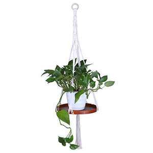 Antner Macrame Plant Hanger Indoor Hanging Planter Shelf Decorative Flower Pot Holder Wood Tray, Handmade Boho Bohemian Macrame Planter Hanger Home Decor for Succulents, Cacti, Herbs, Small Plants