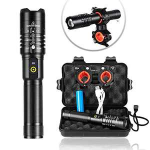 YXQUA LED Rechargeable Flashlight, 3000 High Lumens Super Bright Flashlight, 5 Modes for Emergency, Hiking, Flashlight Mount Holder for Cycling(Include 18650 Battery)