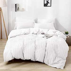 BEDELITE Duvet Cover King Size White - Textured Soft Duvet Cover, Breathable Seersucker Stripe Comforter Cover, Washable Quilt Cover Set with Zipper Closure 3 Pieces (1 Duvet Cover + 2 Pillow Shams)