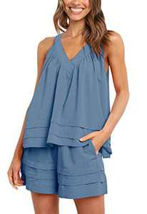 MITILLY Women's Halter Neck Sleeveless Top and Shorts Pajama Sets 2 Piece Solid Color Loungewear Sleepwear Blue X-Large