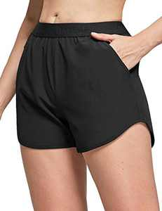 BALEAF Women's Athletic Gym Shorts Tennis with Pockets for Running Workout Sports 3 Inches Black XXL