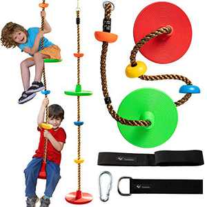 Tree Climbing Rope swing with 2 Disc Swings Seats and Platforms, Playground Swingset Accessories Outdoor for Kids, Tree House Tire Saucer Swing Backyard Toys, Including Bonus Hanging Strap & Carabiner