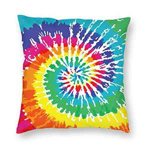 DUCOS Rainbow Tie Dye 6 Throw Pillow Covers Decorative Cotton Cushion Cover Outdoor Sofa Home Pillow Covers 18x18 Inch